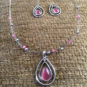 Lia Sophia Silver necklace & Earring set. Pink